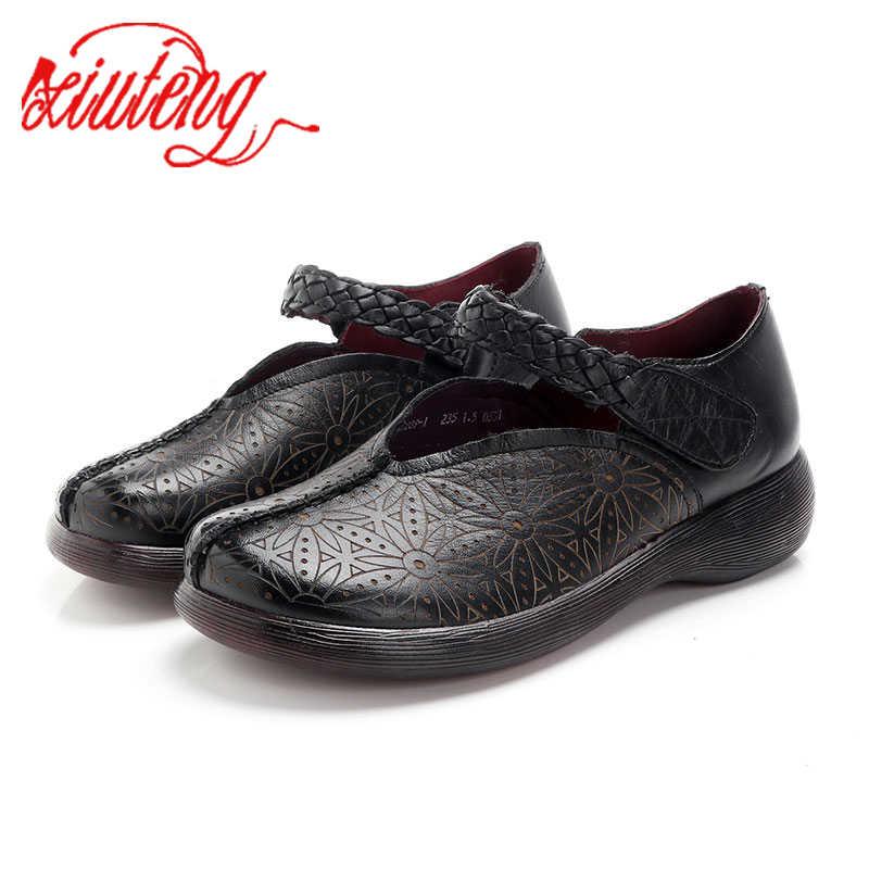 Xiuteng 2019 รองเท้าสำหรับสตรี Comrfort ของแท้หนังแบนรองเท้าผู้หญิงรองเท้าผ้าใบรองเท้าผ้าใบ Slipony บัลเล่ต์รองเท้าหญิงขนาดใหญ่ 36- 41