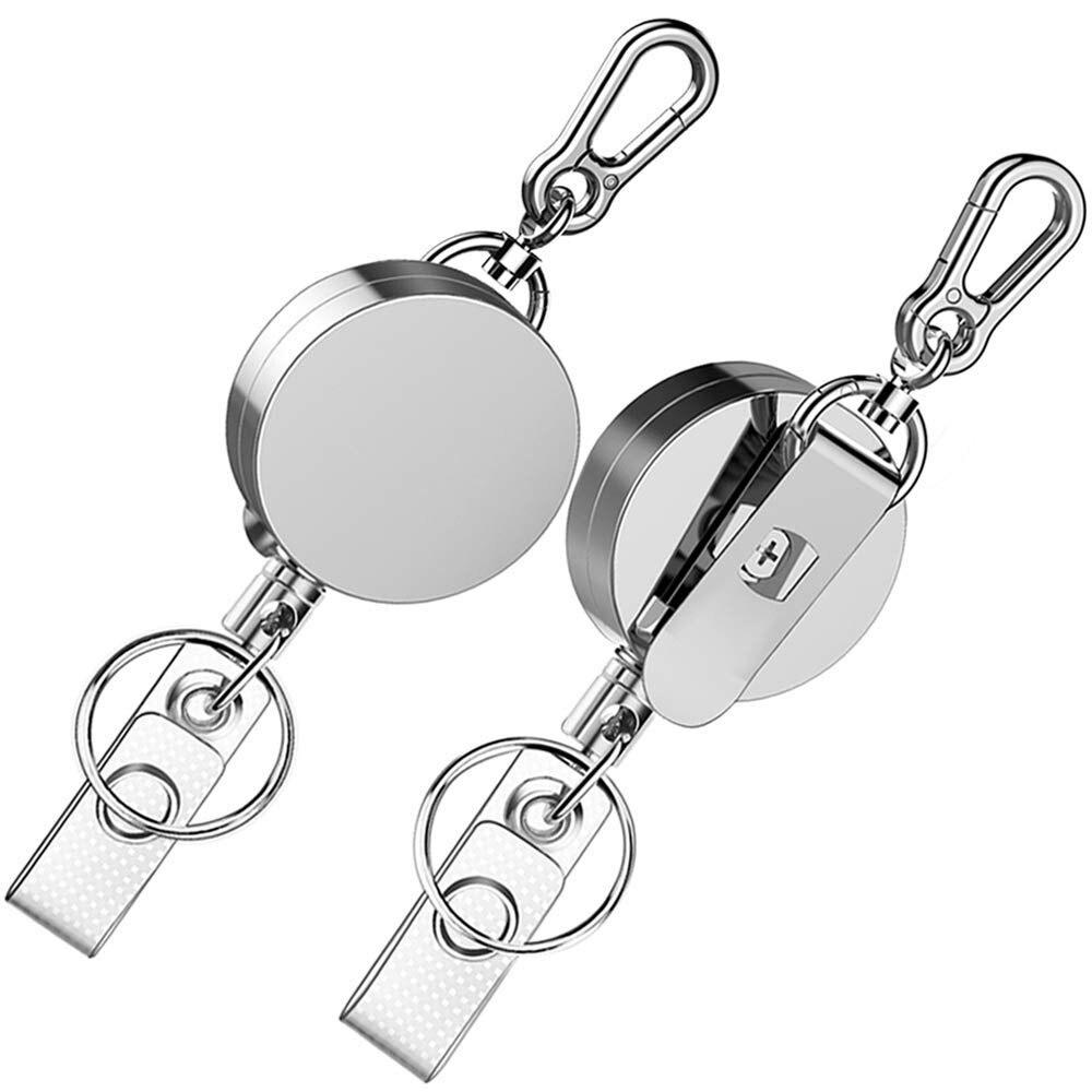 Zayex 2pcs New Retractable Pull Key Ring ID Badge Lanyard Name Tag Card Holder Recoil Reel Belt Clip Metal Housing Metal Covers