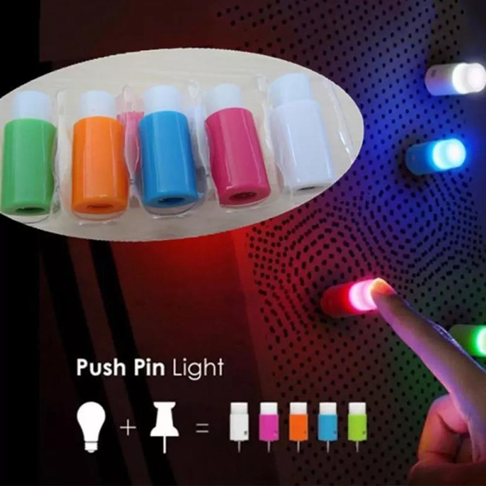 5 Pcs /Lot Plastic Push Pin Light Novelty Lighting Sucker One Touch Night Light Mini LED Romantic Bar Light Decoration