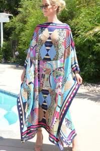 Модное летнее праздничное Макси-платье с рукавами «летучая мышь», длинное пляжное платье-кафтан с цветочным рисунком, шелковое платье
