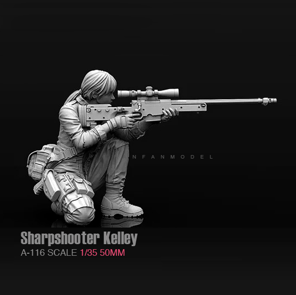 1/35 (50mm) Resin Kits Sharpshooter Kelley Female Sniper Soldier Resin Self-assembled A-116