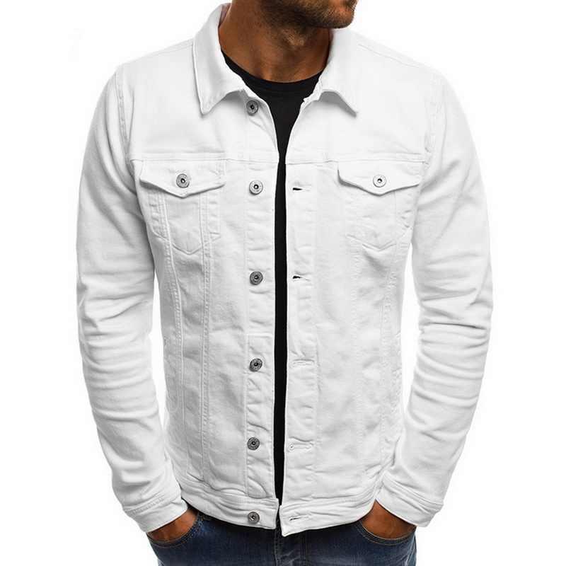 Marka Slim fit uzun kollu erkek gömlek ince kot ceketler moda Streetwear Casual Denim ceket turn-aşağı yaka tek göğüslü katı kot mont