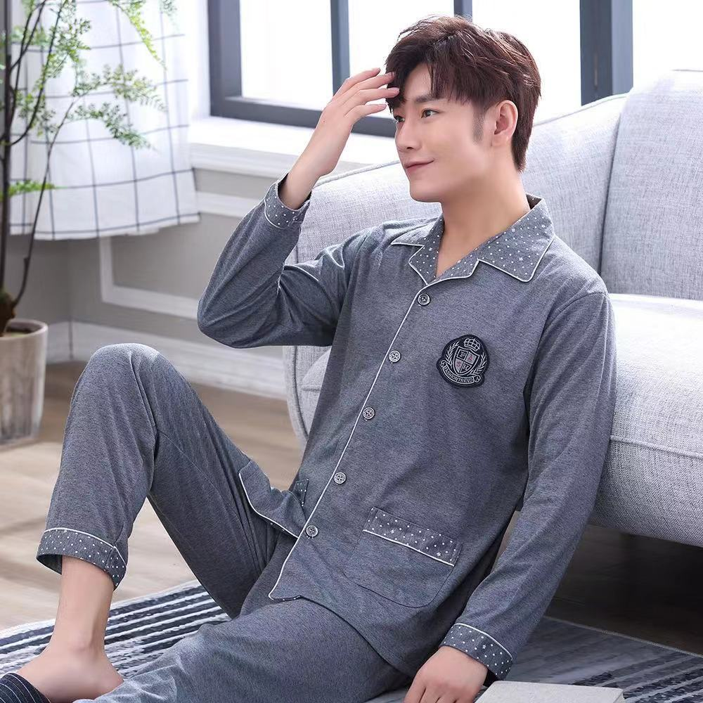 Mens Pajamas Sleepwear Home Wear Clothes Breathable Cotton Plus Size Casual Long Sleeve Lounge Set Night Suit