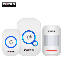 все цены на FUERS Wireless Doorbell Home Security P819 Pir Motion Welcome Chime Door Sensor Alarm 32 Songs Smart Doorbell Ring Touch Button онлайн