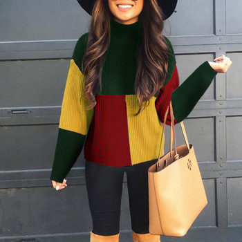 green\red\yellow colorblock womens sweater