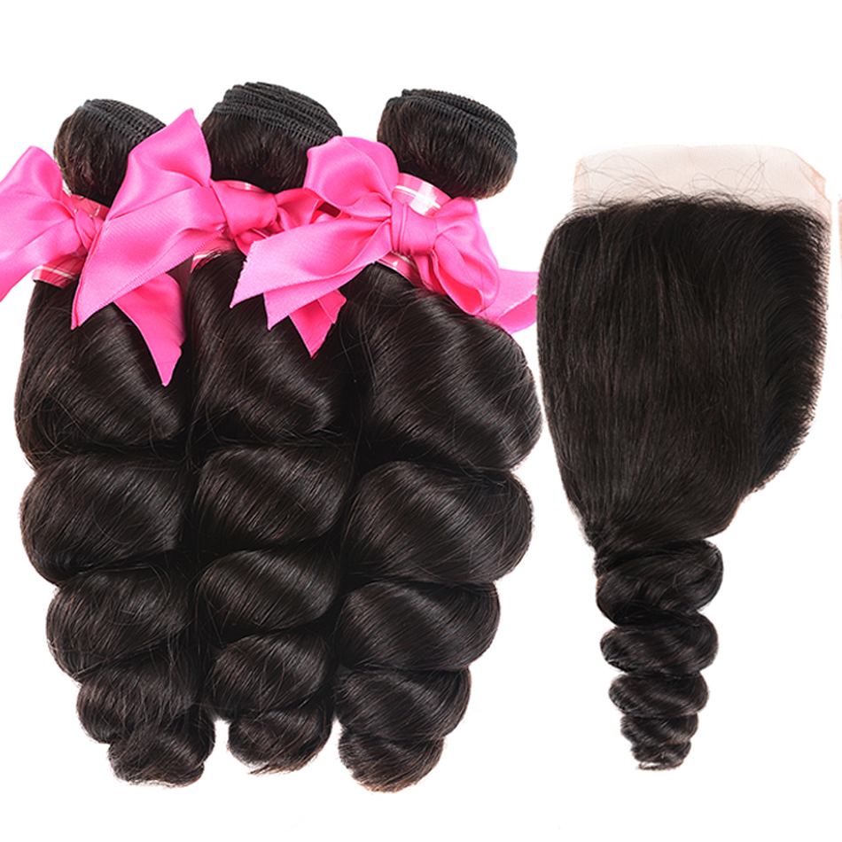 Shuangya Hair Malaysian Hair Weave Bundles With Closure Loose Wave 3 Bundles With Closure 100 Remy