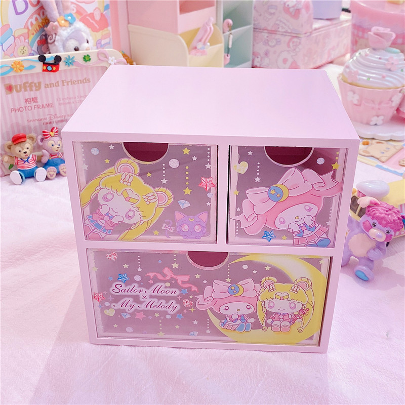My Melody Anime Sailor Moon Tsukino Usagi Model Figure Wooden Desktop Storage Box Makeup Organizer Girls Birthday Gift