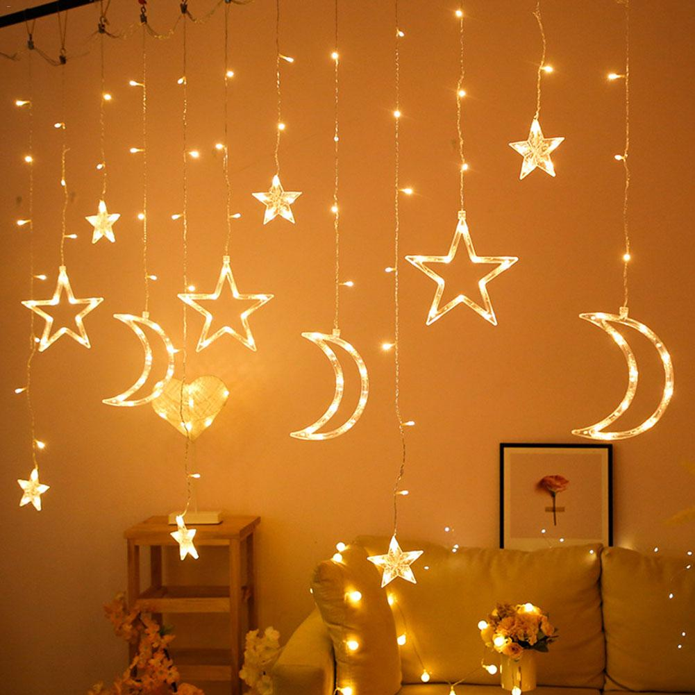 3.5M Moon Star Lamp LED String Lights Ins Christmas Lights Decoration Holiday Lights Curtain Lamp Wedding Lantern Fairy Light