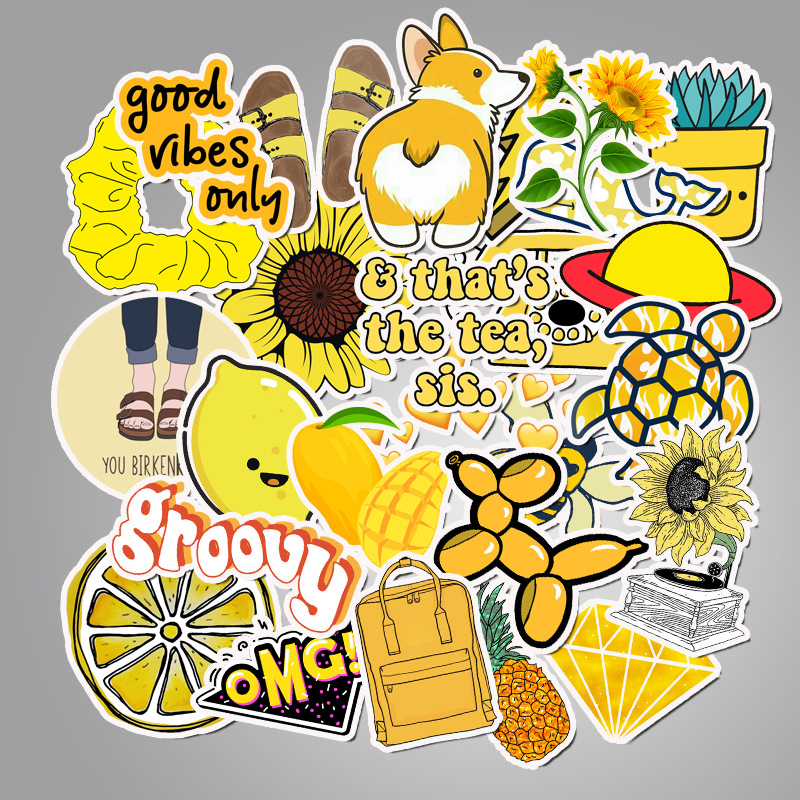50 Pcs/Lot Cute Stickers  Yellow Small Fresh Luggage Case Laptop Graffiti Cartoon Series Custom TZ123D
