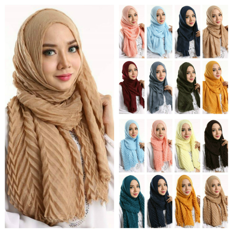 2019 NEW Muslim Ripple Cotton Hijab Turban Scarf Female Shawls And Wraps Islamic Headscarf Arab Cotton Head Scarf Hijab Musulman