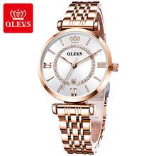 Olevs женские часы топ бренд модные наручные из нержавеющей