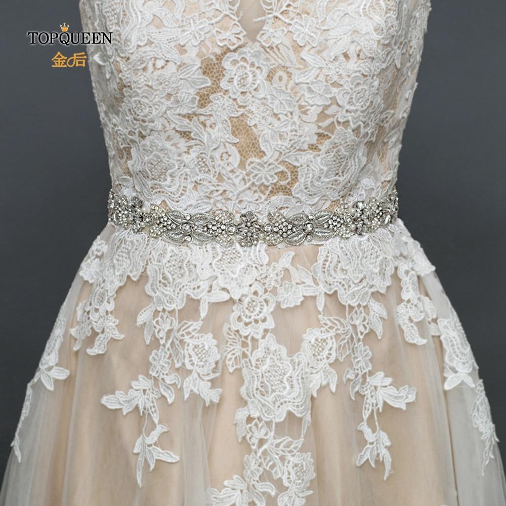 TOPQUEEN S370 Royal Medal Craft Wedding Sash Wedding Accessories Sash Prom Dress Belt Glitter Bridal Belt Beaded Belt For Dress