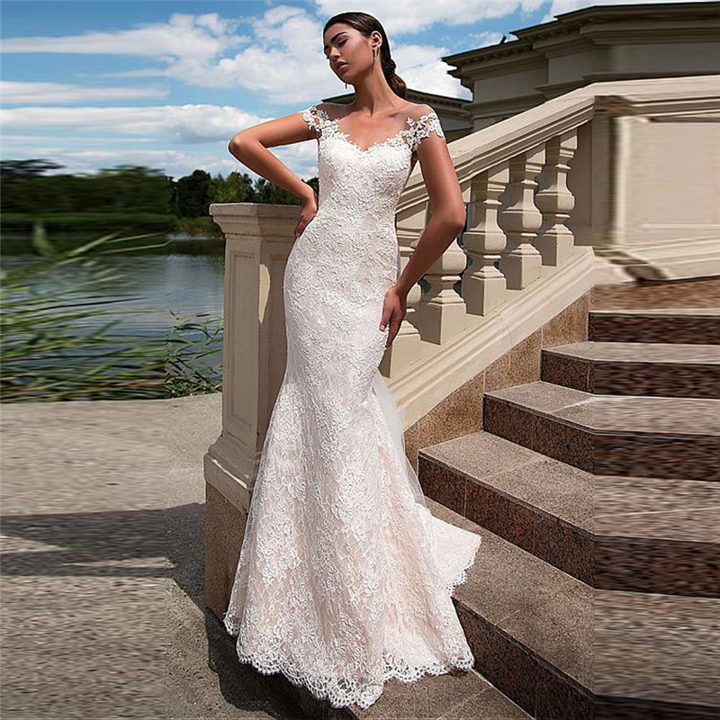 Sheer Short Sleeves Natural Slim Mermaid Lace Wedding Dress Bridal Gowns Women Fashionable Long Women Bride Party Gown 2020
