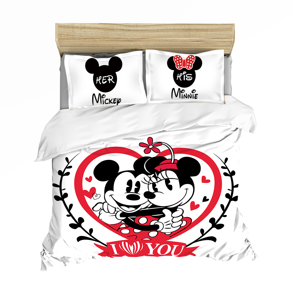 Mickey Minnie  Bedding Set Lovely Couple Queen King Size Bedding Set Children Duvet Cover Pillow Cases Comforter Bedding Sets