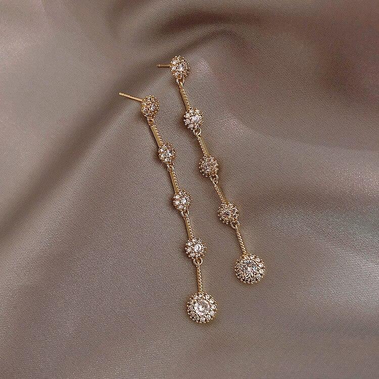 2020 Korean Fashion Luxury Temperament Elegant Full Crystal long Tassel Dangle Earrings For Women Girls Daily Party Gift LS396