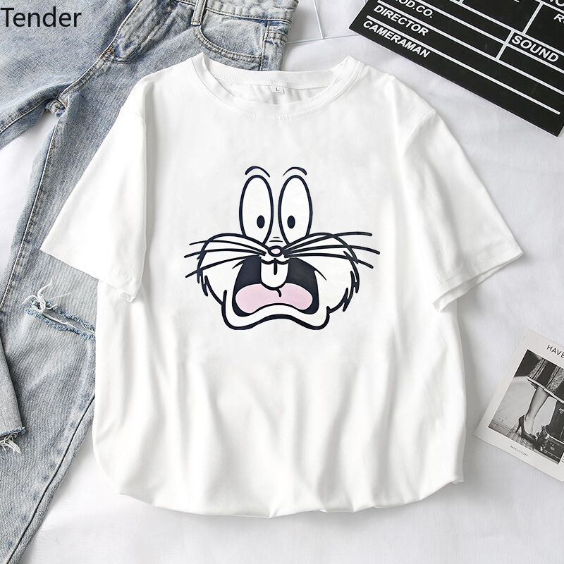 Cute Funny Bunny Women T-Shirts 2020 Summer New Girls Printed Tops Tee Female T-shirt Short Sleeve White Tshirt For Lady Top