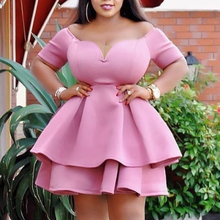 Puffy Dresses Women Ball Gown Prom Pink Ruffle Dress Sexy Plus Size African Lady Cute Mini Party Birthday Outfits 2021 Summer XL