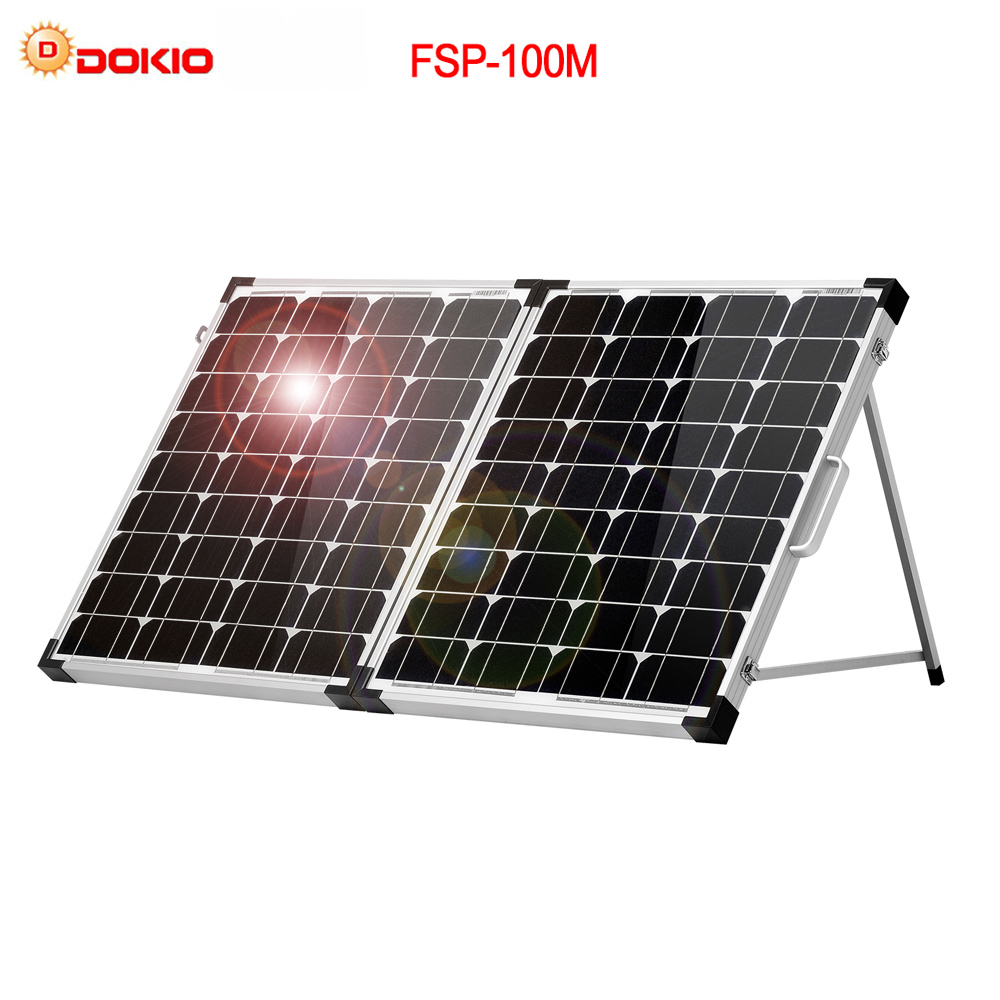Dokio Brand 100W (2Pcs x 50W) Foldable Solar Panel China 18V +10A 12V/24V Controller Solar Battery Cell/Module/System Charger-in Solar Cells from Consumer Electronics