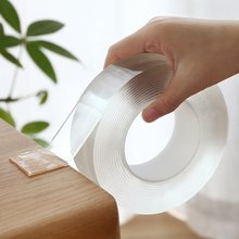 Fita adesiva impermeável reusável (1m/3m/5m) fita adesiva impermeável transparente sem traço fita dupla face acrílica