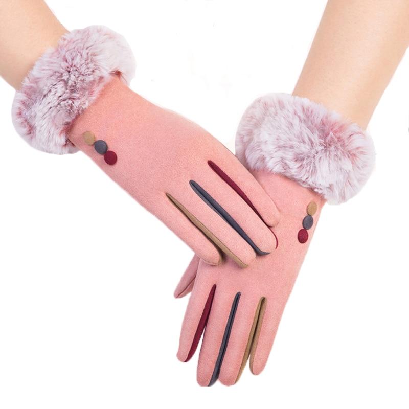 Women's Winter Gloves Fashion Suede Rabbit Fur Wrist Mitten Touchscreen Warm Windproof Cold Gloves Outdoor Driving Gloves