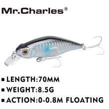 Mr. charles cmc015 iscas de pesca 70mm/8.5g shad, 0-0.8 m flutuante, qualidade profissional minnow hard bait 3d olhos crankbait(China)