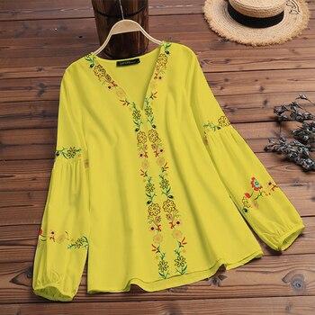 Bohemian Printed Tops Women's Autumn Blouse ZANZEA 2019 Plus Size Tunic Fashion V Neck Long Sleeve Shirts Female Casual Blusas 6