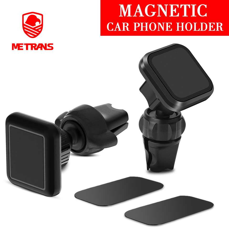 Metrans Magnetic Car Phone Holder For iPhone 360 Degree Rotation Air Vent Holder Car Mount Phone Stand suporte celular paracarro-in Phone Holders & Stands from Cellphones & Telecommunications
