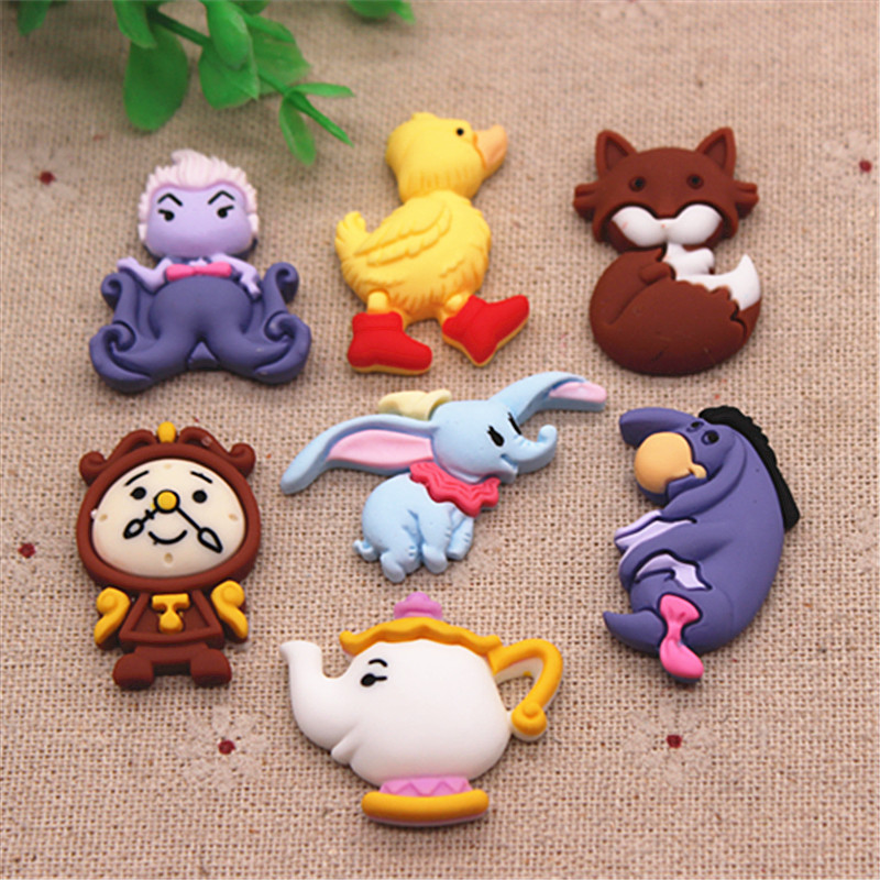 10pcs Cute Resin Cartoon Animals Flatback Cabochons Miniature Art DIY Craft/Hair Clip Decoration