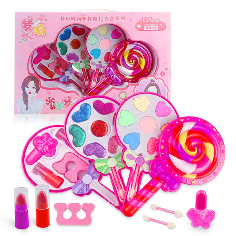Kids Makeup Toy Pretend Play Girl Lipstick Eyeshadow Set Safety Makeup Kit Toy For Girls Dressing Cosmetic Bag Beauty Toy Gifts