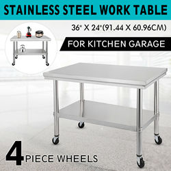 Stainless Steel Commercial Kitchen Work Table 36x24 Inch With 4 Casters  For kitchen, restaurant and other commercial