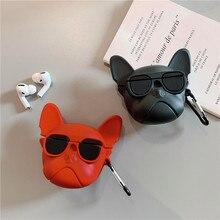 מצחיק בולדוג מקרה עבור אפל Airpods פרו כיסוי סיליקון חמוד Cartoon אוזניות מגן מקרי טעינה תיבת אוויר תרמילי פרו 3