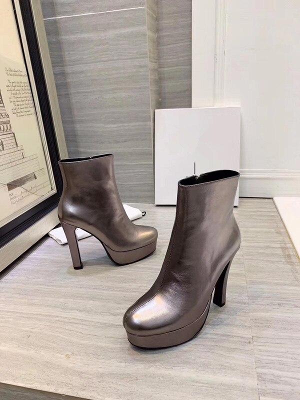 Модные ботинки ботильоны на высоком каблуке с острым носком ботинки с принтом змеи г. Зимняя женская обувь на блочном каблуке черные ботинки в стиле панк - Цвет: Золотой