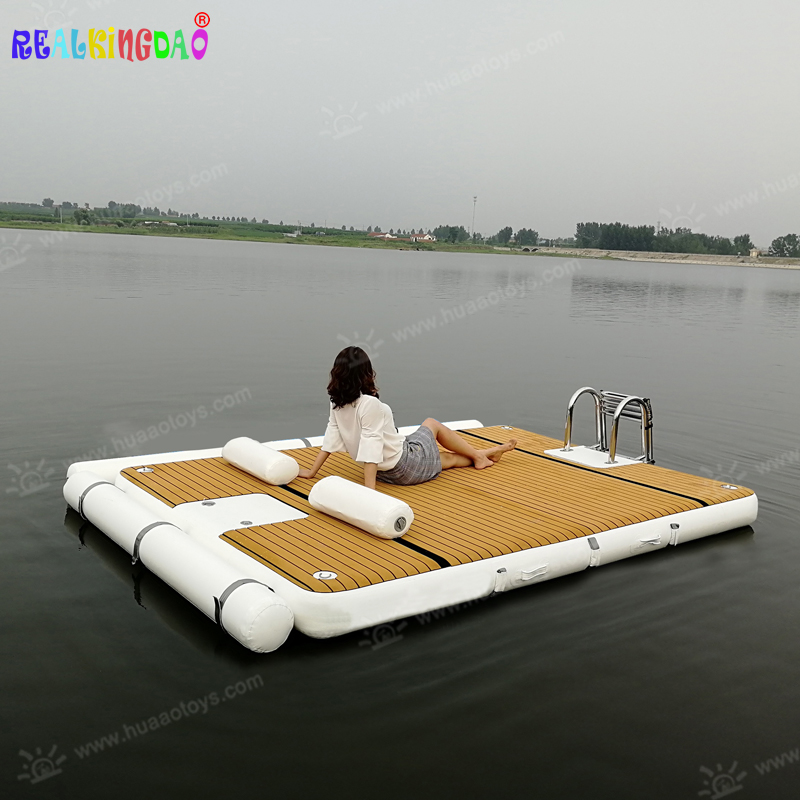 Inflatable Water Mats Floating Teak Platform inflatable platform with wooden color non slip mat