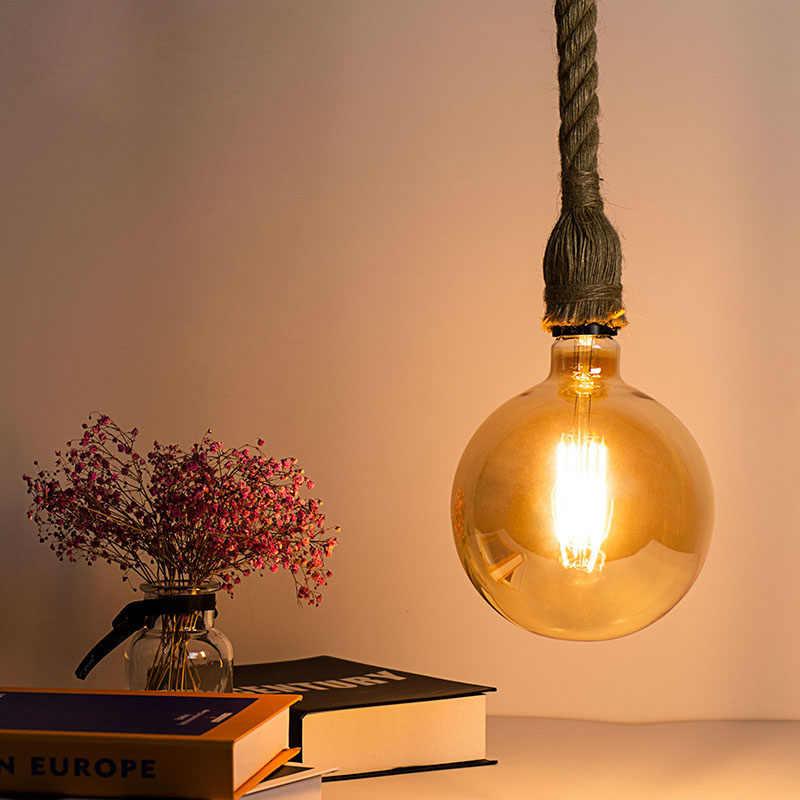 Светодиодный подвесной светильник в винтажном стиле из пеньковой веревки, AC85-265V Цоколь E27, креативный кантри стиль, промышленный подвесной светильник, украшения
