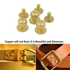 Image 5 - 10Pcs 5 8mm Solid Brass Round Head Stud Spot Screwback Screw Back Chicago Screw Nail Rivet Nipple Buckle Leather Craft Bag Belt