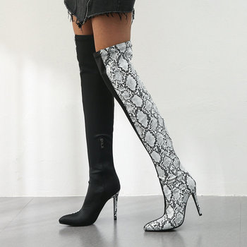 2020 Fashion Women Over the Knee Boots Thin High Heel Pointed Toe Women Long Boots Mixed Color PU Snake Print Ladies Shoes