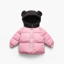 Новая куртка для маленьких мальчиков с рисунком медведя; детская зимняя теплая хлопковая куртка с капюшоном; детская повседневная верхняя одежда