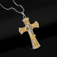 Men's Cross Necklace Gold Silver Black Cross Pendant Stainless Steel Byzantine Chain Necklace 2020 Hip Hop Male Jewelry(China)