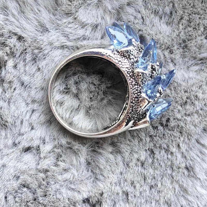 Anillos de cristal inclinados de circonita azul Punk Vintage para mujeres diseño inusual cóctel CZ anillos de boda joyería fina regalos Z4P556