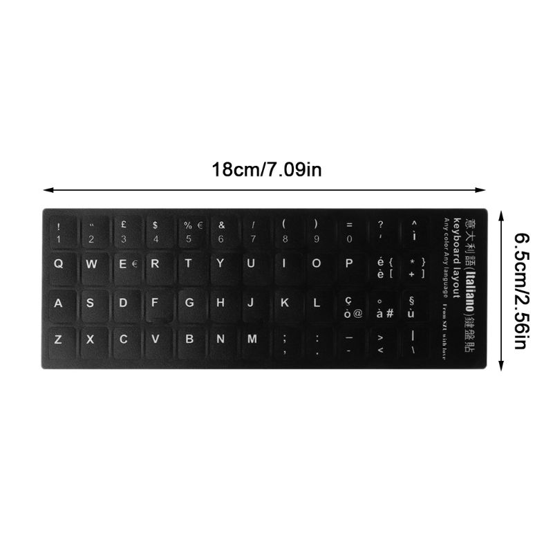 Durable Durable Russian/French/Spanish/Japanese/German/Arabic/Korean/Italian Keyboard Language Sticker Black Background With For