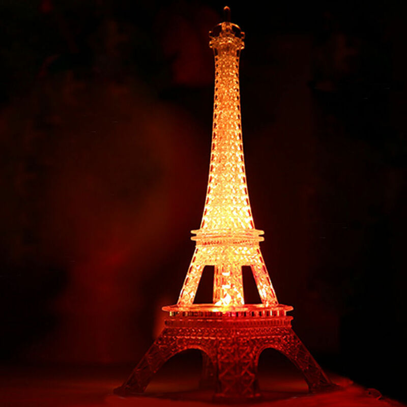 New Style Miniatures Romantic Eiffel Tower Color Changing LED Night Light Bedroom Home Decoration Lamp Gift