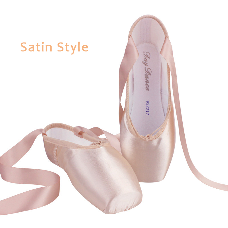 Women Ballet Dance Shoes Child and Adult Ballet Pointe Dance Shoes Professional with Ribbons Shoes Satin Canvas Shoes Sneakers