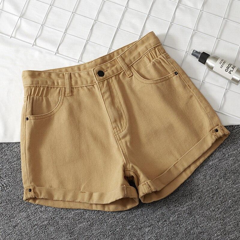 Apricot High Waisted Jean Shorts Summer Denim Short Feminino Jean Loose Shorts Plus Size Feminino Korean New Blue Ladies Short