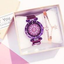 Oro rosa de lujo relojes de mujer 2020 nueva moda vestido de mujer reloj de acero de malla de hembra impermeable cielo estrellado cielo reloj de pulsera de regalo Mujer