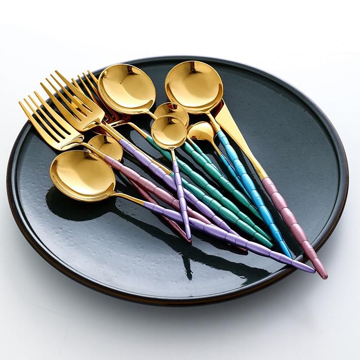 Or violet ensemble de vaisselle en acier inoxydable Steak couteau fourchette cuillère ensemble de couverts occidentaux 4 pièces déjeuner ensemble de vaisselle de mariage KK60CJ