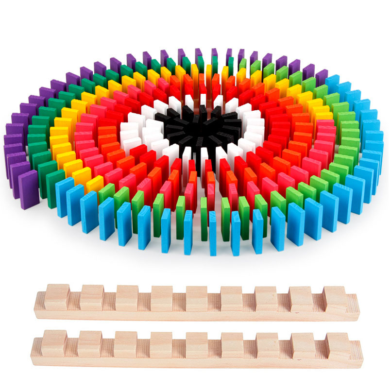 Domino Blocks Kits Color Sort Wooden Toys For Children Rainbow Wood Dominoes Games Early Educational Kids Baby Toy Birthday Gift
