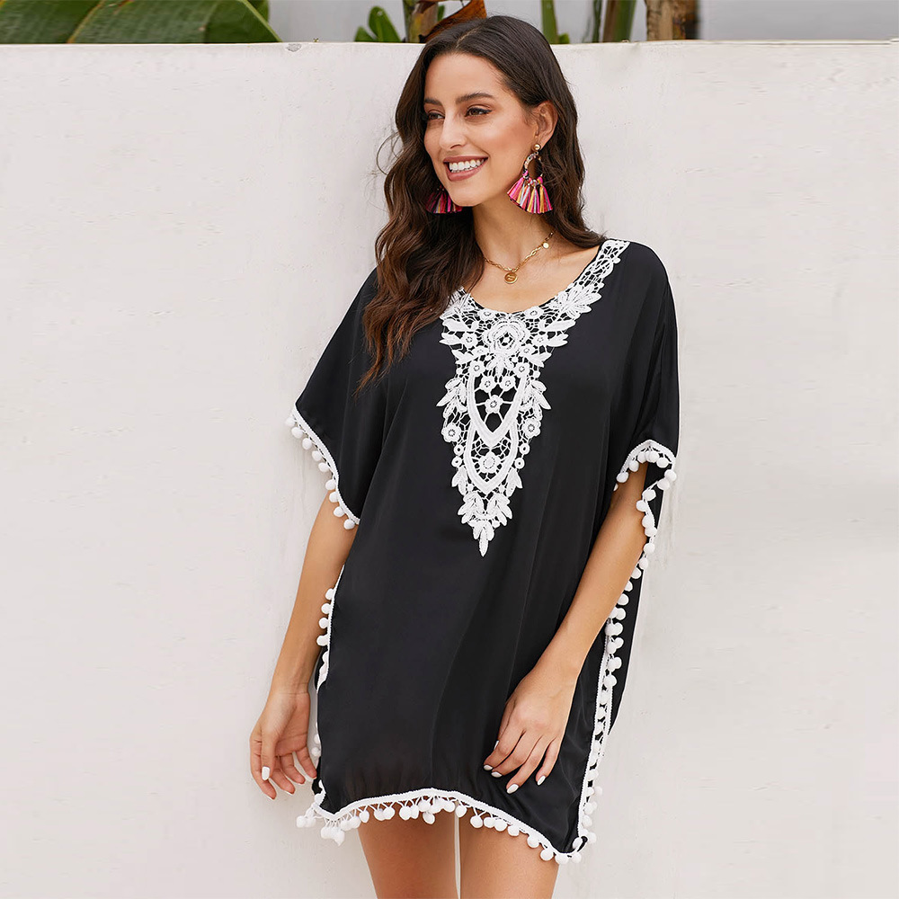 Bikini Cover-up Women's Summer Seaside Holiday Crochet Chiffon Tassels Bathing Suit Coat Beach Skirt 420145