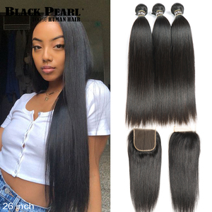 Black Pearl Straight Hair Bundles With Closure Non Remy Human Hair 3 Bundles With Closure Peruvian Hair Bundles With Closure(China)