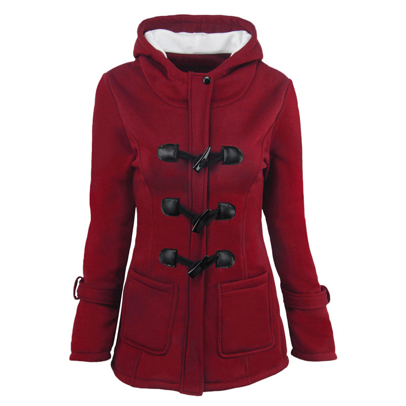 2019 Women Hooded Cotton Blend Classic Croissant Leather Button-down Padded Jacket Winter Warm Coat Long Basic Parkas CA3105 2