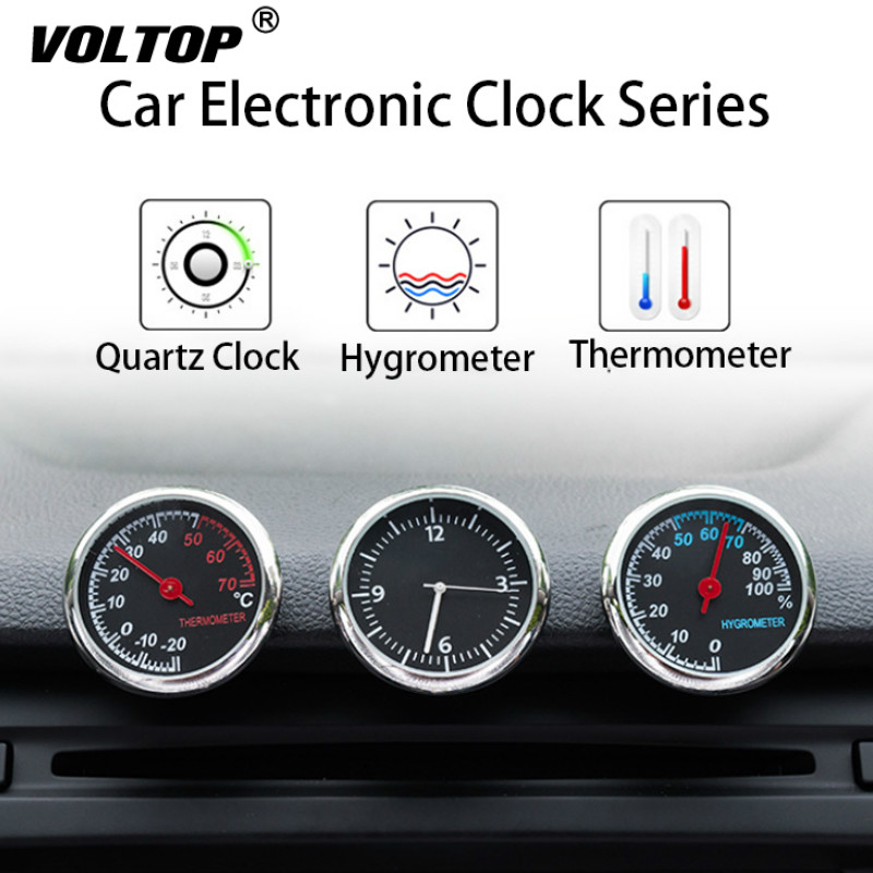 Clock Hygrometer Thermometer Car Accessories Interior Dashboard Car Decorations Ornaments Pendant Quartz Watches-in Ornaments from Automobiles & Motorcycles